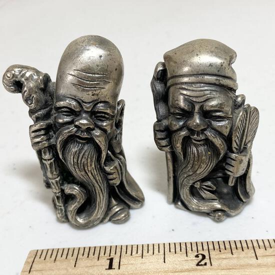 Pair of Italian Pewter Peltro Carved Figurines