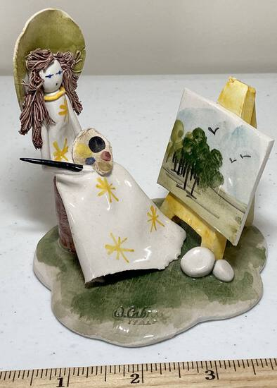 Beautiful Hand Crafted W. Cabrelli Italian Girl with Spaghetti Hair Painting Figurine