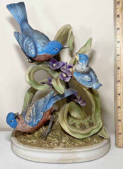 "Porcelain Andrea by Sadek ""Family of Blue Birds"" Large Figurine"