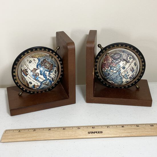 Pair of Globe Bookends on Wood Made in Japan