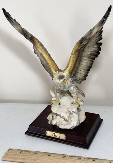 """Pucci"" Porcelain Eagle on Wooden Base"