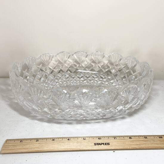 Gorgeous Large Oval Waterford Crystal Bowl with Scalloped Edge Signed on Bottom