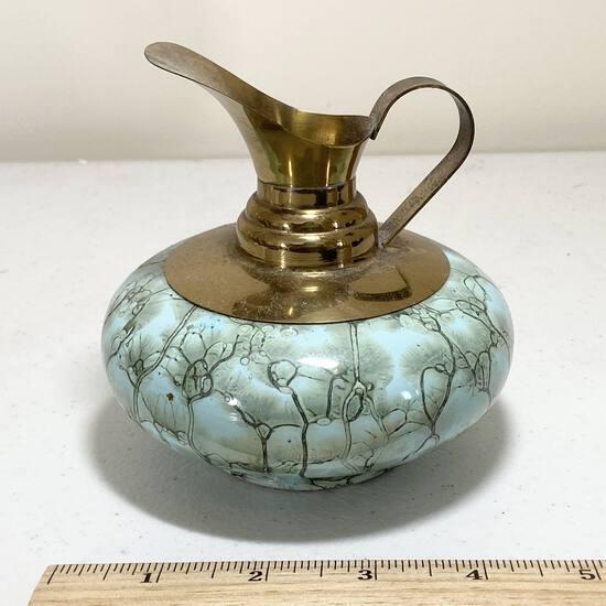 Beautiful Brass & Enamel Ewer