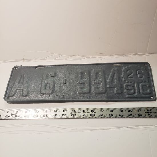 Vintage SC 1926 Metal Embossed License Plate with Palmetto