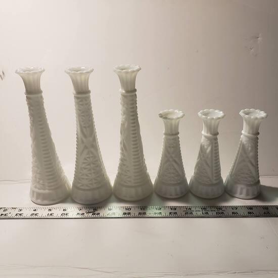 Lot of 6 Vintage Milk Glass Bud Vases or Candlesticks