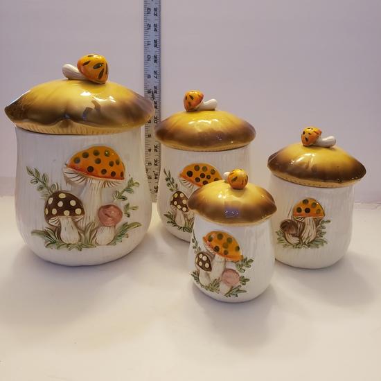 8 Piece Mushroom Canister Set, Sears 1978