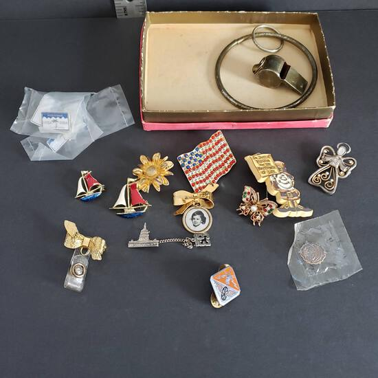 Mixed Lot of Vintage Pins, Keychain Whistle