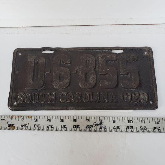 Vintage Metal Embossed South Carolina 1929 License Plate Tag