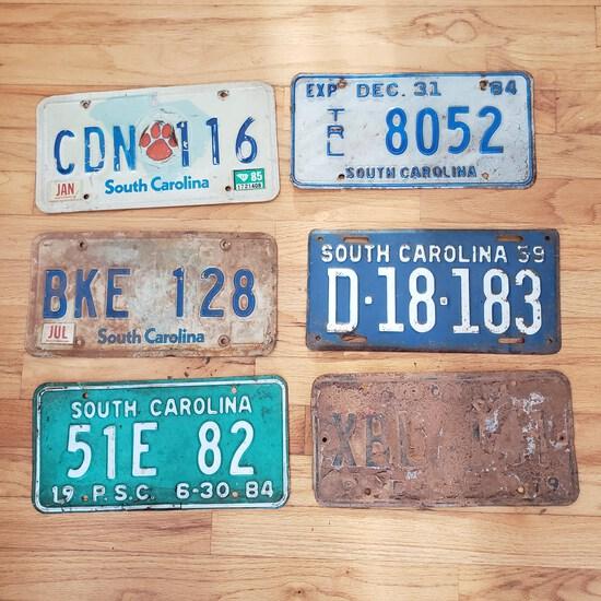Lot of 6 Vintage Metal Embossed License Plates Tags