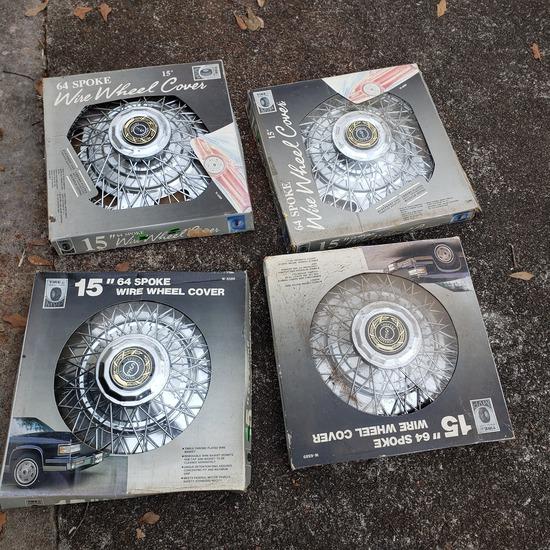 """Lot of 4 15"""" Spoke Wire Wheel Covers"""