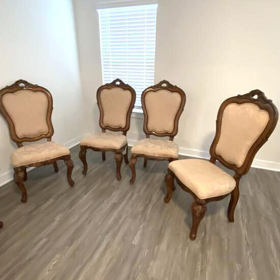 Set of 4 Nice Wooden Dining Chairs with Carved Queen Anne Legs & Soft Upholstered Seats