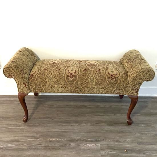 Rolled Arm Bench for End of Bed with Queen Anne Legs
