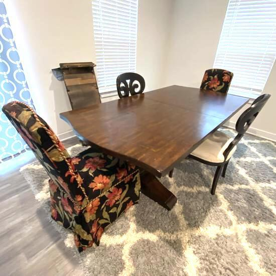 Large Solid Heavy Wood Dining Table with 2 Leaves & 4 Chairs
