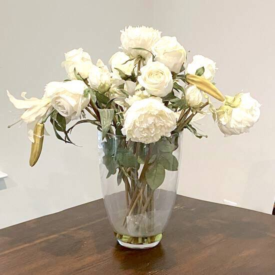 Off White Artificial Floral Arrangement in Heavy Glass Vase