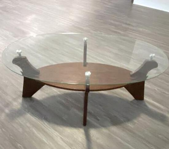 Nice Wooden Oval Glass Top Table