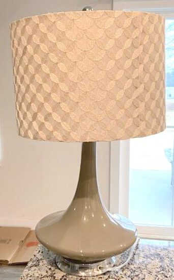 Pretty Gray Glass Table Lamp with Shade