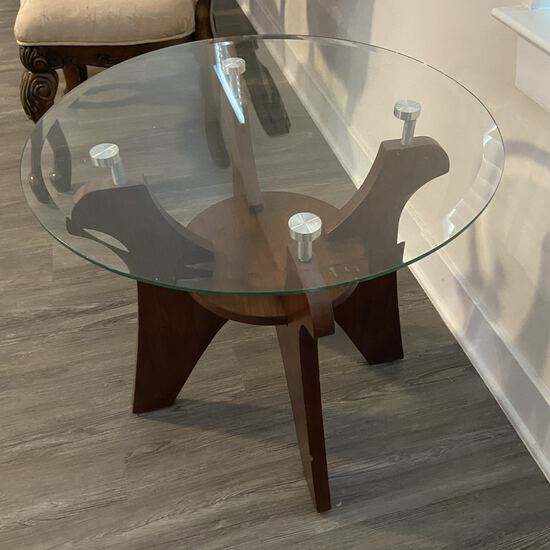 Nice Wooden Round Glass Top Side Table