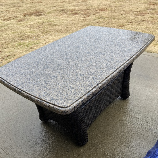Excellent Brown Wicker Table with Granite Top