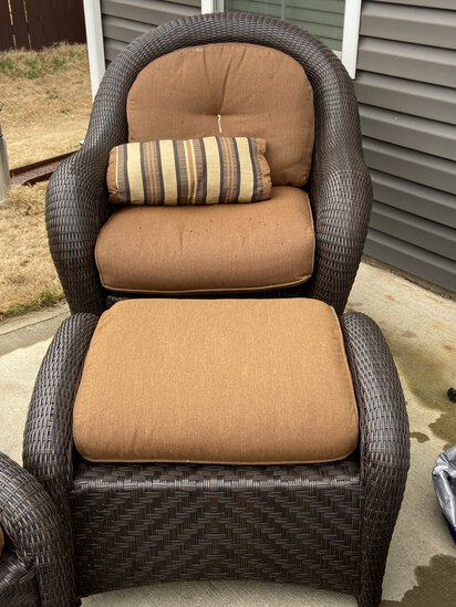Heavy Brown Wicker Chair with Ottoman & Cushions