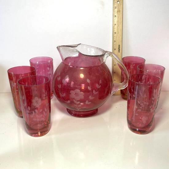7 pc Vintage Cranberry Overlay Etched Glass Lemonade Pitcher with Tumblers