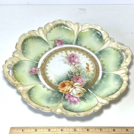 """Gorgeous Floral Double Handled Porcelain 11-1/2"""" Dish"""
