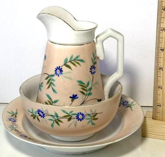 Early 3 pc Italian Porcelain Pitcher & Bowl Set Number on Bottom