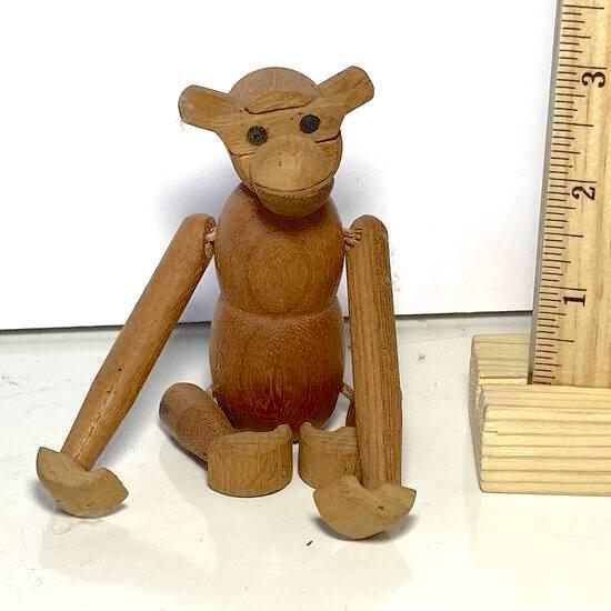 Bojesen Style Hand Carved Teak Monkey Shelf Sitter