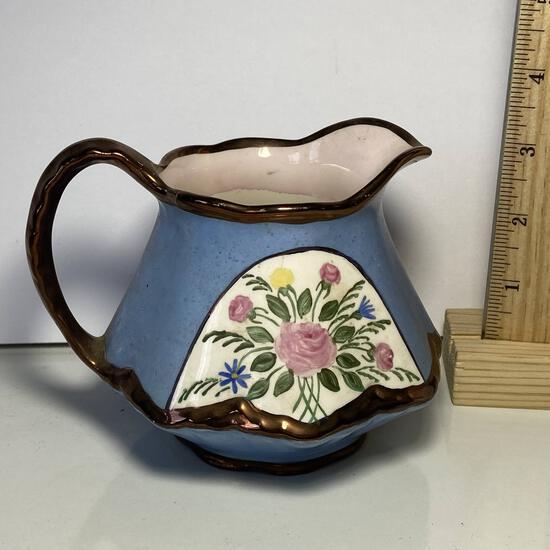Pretty Vintage Porcelain Floral Creamer Made in USA Numbered on Bottom