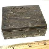 Vintage Embossed Metal Hinged Trinket Box with Wooden Interior