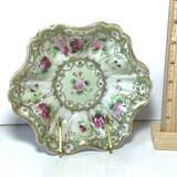 Beautiful Vintage Hand Painted Nippon Ruffled Bowl with Floral & Gilt Design on Brass Stand