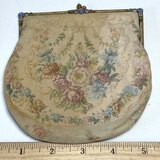 Antique Small Tapestry Purse with Enamel Floral Embellishments