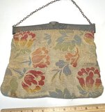 Antique Early 1900's Purse with Silver Plated Top