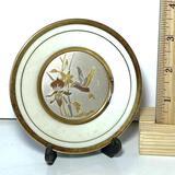 24K Art of Chokin Hummingbird Iris Decorative Plate with Stand