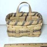 Vintage Split Oak Basket with Single Handle Signed on Bottom