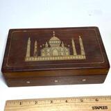 Vintage Wooden Hinged Box with Beautiful Inlay of Taj Majal India