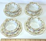 Set of 4 Vintage Custard Cups w/ Under plates & Floral Design