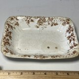 Antique John Maddock & Sons Royal Vitreous Rectangular Bowl with Floral Design