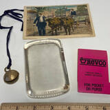 Lot of Vintage Items - Old Revco Emery Boards (Never Used), Magnifier, Bell & Postcard