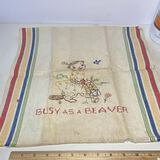 """Vintage """"Busy As A Beaver"""" Needlework Hand Towel"""