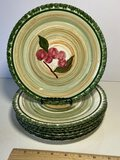 Set of 8 Vintage Blue Ridge Pottery Hand Painted Lunch Plates with Fruit Design