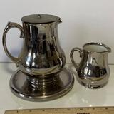 3 pc Vintage Silver Overlay Pottery Tea Pot, Plate & Creamer