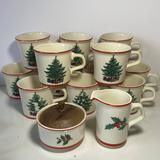 14 pc Vintage Christmas Dinnerware Lot - Cups by Taylor International USA