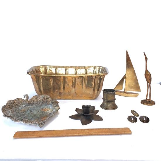 Brass Lot of Decorative Items, Planter, Sailboat, Key Plates, More