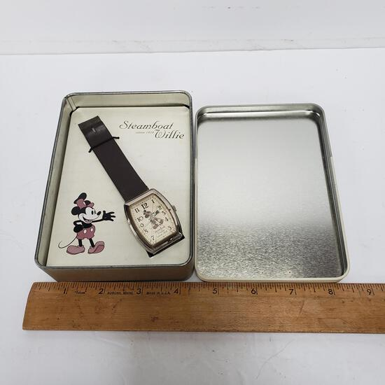 Disney Mickey Mouse Steamboat Willie Watch in Original Tin