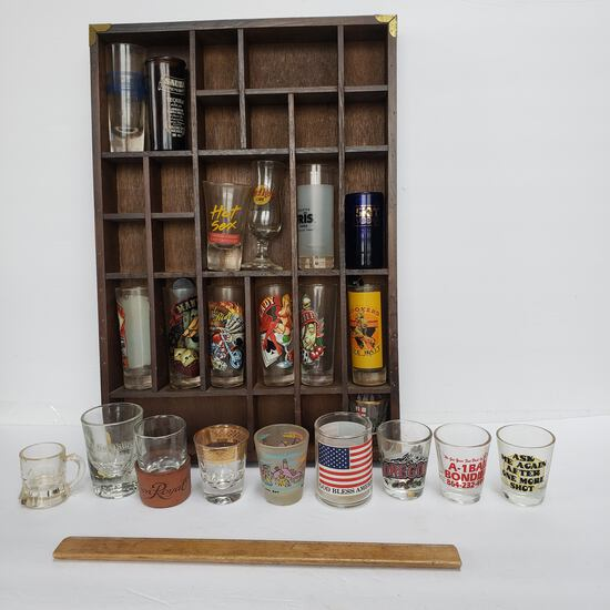 Shot Glass Collection in Wood Divided Display Rack with Brass Trim Corners