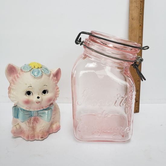 Vintage Ardco Kitten Planter and Pink Glass Jar with Snap Tight Wire Closure