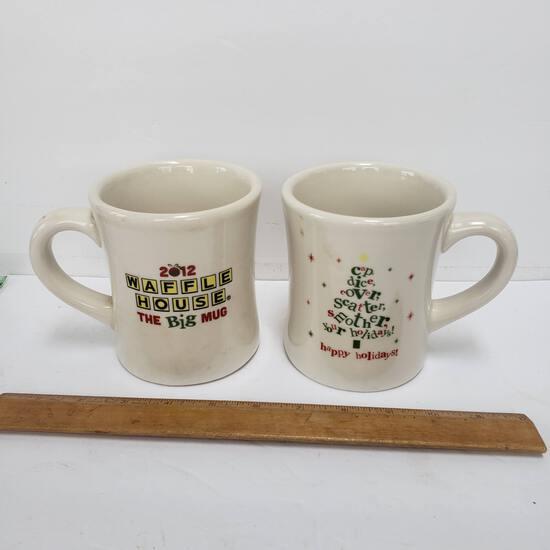 Lot of 2 Waffle House 2012 Christmas Big Mugs Tuxton Thick, Heavy