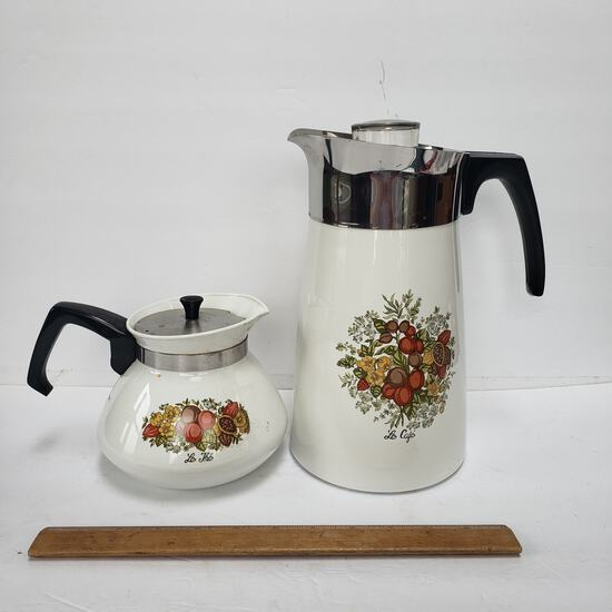 """Lot of 2 Vintage Corning Ware """"Le Cafe"""" Coffee Pots, 10 Cup Percolator, 6 Cup Pot"""