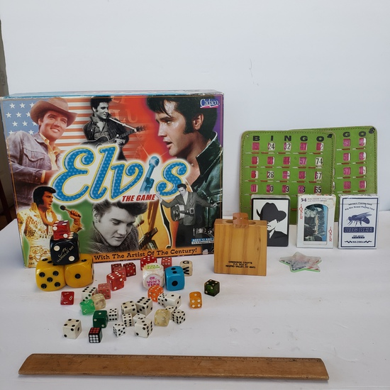 Elvis Board Game, Bingo Cards, Playing Cards, Miscellaneous Dice