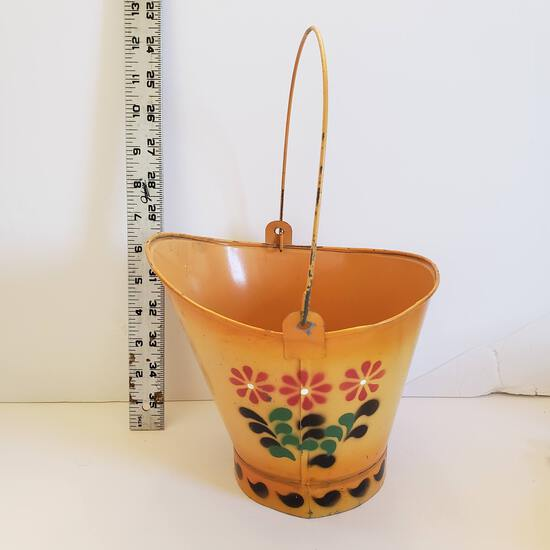 Vintage Metal Painted Pail, Marked Lego Taiwan